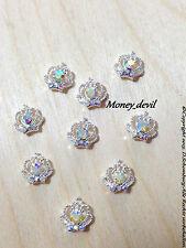 Nageldesign 1 St. 3D Silber Krone Crown & Diamant Strass Overlay money_devil