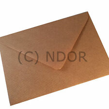 50 C6 BROWN RIBBED KRAFT Coloured Envelopes for A6 Cards