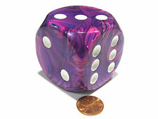 Festive 50mm Huge Large D6 Chessex Dice, 1 Piece - Violet with White Pips