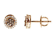 10k Rose Gold Brown White Diamond 7mm Flower Cluster Studs Earrings 0.25 ct