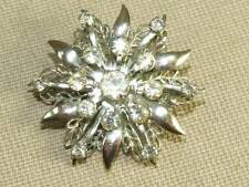 Vintage 50's Atomic Rhinestone Filigree 3 Tiered Flower Pin Brooch