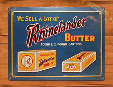 "TIN-UPS TIN SIGN ""Rhinelander Butter"" Kitchen Advertising Rustic Wall Decor"