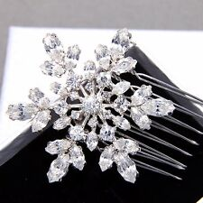 Winter Snowflake Snow Rhinestone Crystal Bridal Hair Comb Wedding Headpiece