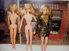 3 Lot Vintage Mattel Platinum Blonde LIVING & Live Action BARBIE Dolls 1970s NR