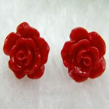 Retro Lady's Jewelry Cute Rose Flower Coral & Sterling silver Ear Stud Earrings