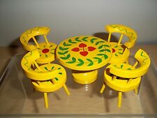 Vintage Dollhouse Miniature Yellow Painted Kitchen Table With 4 Matching Chairs