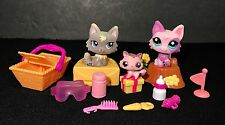 Littlest Pet Shop 2465 1411 2665 Pink Grey Wolf Kitty Cat Accessories Baby Lot 3