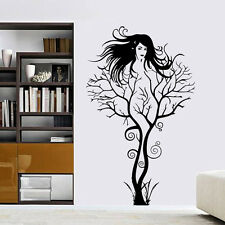 Black Tree Branch Girl Wall Stickers Decals Home Decor Art Removable Vinyl Mural