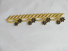 "#2480 9-1/2""Gold Trim Fringe,Black Flower,Deco Embroidery Iron On Applique Patch"