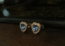 Vintage Light Blue Sapphire Crystal Heart Pierced Earrings. Gold Plated