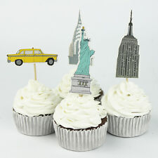 24pcs Statue of Liberty, Yellow Cab, New York Cupcake Topper Kids Birthday Party