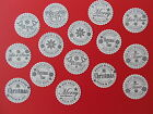 15 X SCALLOPED CIRCLE CHRISTMAS SENTIMENTS STAMPED CARD TOPPERS