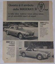 Advert Pubblicità 1962 MASERATI 3500 GTI COUPE / 3500 GTI CONVERTIBILE