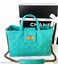 CHANEL BOY BAG LARGE CROSSBODY GOLD HDW BAG TURQUOISE GREEN NEW GORGEOUS
