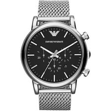NEW EMPORIO ARMANI MENS GENUINE LUIGI MESH STEEL LARGE WATCH - AR1808 - RRP £249