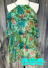 Size L Crepe Tiered Silk Tank Top Tunic NU COLLECTIVE Floral Blue Orange Summer
