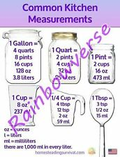 Common Kitchen Measurements Refrigerator Magnet Help Cooking Volume Great Gift
