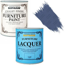 Rust-Oleum Chalky Furniture Paint Chic Shabby 125ml Ink Blue Clear Lacquer