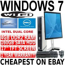 Completo Dell Core 2 Duo Desktop Tower Pc & Tft ordenador con Windows 7 + Wifi + 4 Gb
