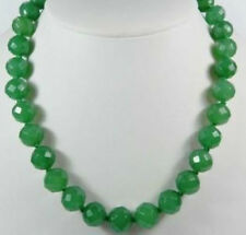 """Stunning!10mm Faceted Green Emerald Round Necklace 18""""AAA"""