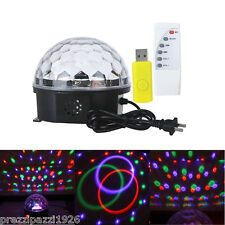 PROIETTORE LUCI SFERA MUSIC LUCE RGB LED MAGIC LIGHT USB DJ TELECOMANDO PARTY