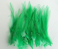 30 Quality Small Emerald Green Very Fine Hackle Feathers - Millinery and Crafts
