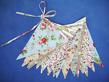 DOUBLE SIDED FABRIC BUNTING shabby vintage chic PRETTY FLORAL ROSALI TAPE no gap