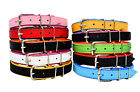 HANDMADE LEATHER DOG Puppy COLLAR DOUBLE COLOUR red black pink white blue aqua