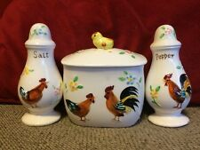 Vintage Ceramic Chicken & Rooster Salt & Pepper Shakers & Grease Jar Enesco