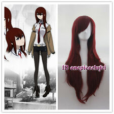 Makise Kurisu Steins Gate Long wave Dark Red Cosplay Party Hair wig +a wig cap
