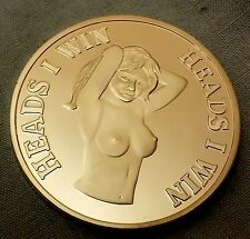 Heads I win Tails you lose Silver Coin Humour Cheeky Adults only 18+ Un Lucky UK