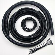 Full Loom Wire Cable Flexible Tubing Wire Conduit Hose Cover Car Black & 20Ties