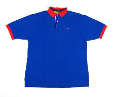 90S VTG TOMMY HILFIGER USA FLAG 2 TONE POLO RUGBY SHIRT OG SPORT SAILING RAP NYC