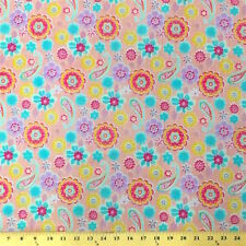 """Lenox Pink Print Fabric Cotton Polyester Broadcloth By The Yard 60"""""""