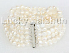 "8"" 8mm 6row Baroque white pearls bracelet magnet clasp j11119"