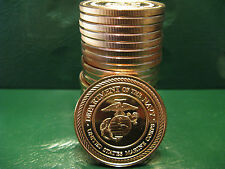 US Marine Corps 1oz .999 Copper 20 beautiful rounds 1 Roll in Plastic Tube