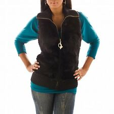 Baby Phat...HOT new FAUX FUR sweater VEST...BLACK / BROWN with BLING....NWT !!!