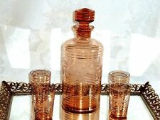 BEAUTIFUL RETRO PINK ETCHED CRYSTAL DECANTER & 4 LIQUEUR GLASSES BOHEMIA