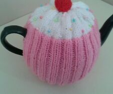Pink Hand knitted cupcake tea cosy