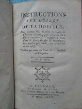 VENEL : INSTRUCTIONS SUR L'USAGE DE LA HOUILLE, 1775. 9 planches
