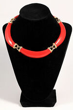 Vintage Runway Signed DONALD STANNARD Red Enamel Gold Collar Choker Necklace