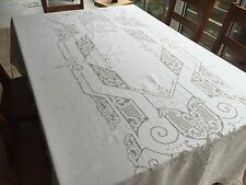 Vintage Ecru Linen Tablecloth, Lace Cutwork Embroidery, Rectangle 64x100 (RF373