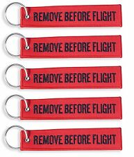 QTY= 5 PIECE BLACK/RED REMOVE BEFORE FLIGHT KEY CHAIN AVIATION TAGS -US Seller-