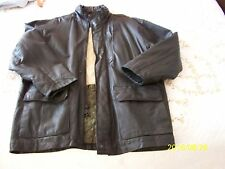 BLACK LEATHER JACKET LARGE BY PIERRE CARDIN IN EXCELLENT CONDITION WITH HOOD
