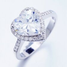 Elegant Party Show Jewelry 1ct White Heart Cubic Zircon Rings Size 6 M