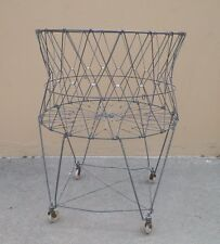 """VINTAGE ALLIED PROD WIRE COLLAPSABLE ROLLING LAUNDRY BASKET 29"""" TALL 22"""" ACROSS"""