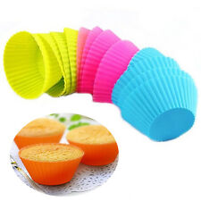 U 12 pcs Soft Silicone Round Cake Muffin Chocolate Cupcake Liner Baking Cup Mold