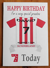 SUNDERLAND FAN Unofficial PERSONALISED Football Birthday Card Red & White Shirt