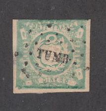 Peru Sc 14, Mi 15 used 1868-72 1d Coat of Arms, scarce TUMBES cancel