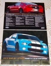 LOT OF 3 FORD DEALERSHIP ONLY 2013 FORD MUSTANG GT500 LITERATURE BROCHURE CARDS!